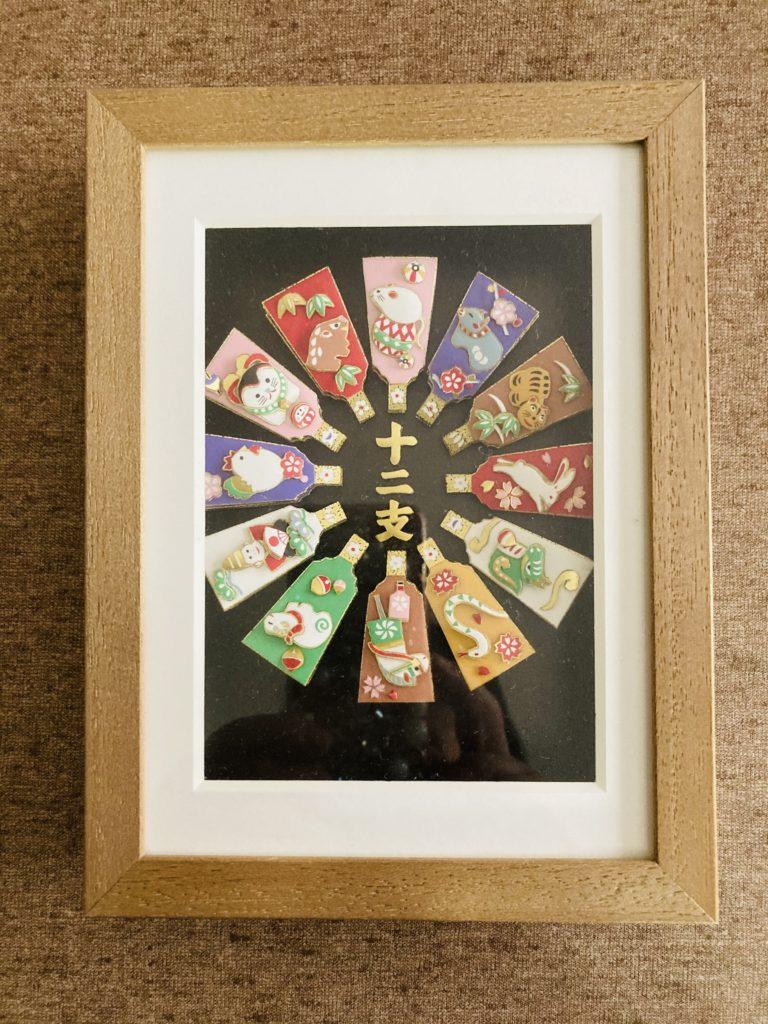「十二支の羽子板」のシャドーボックス作品