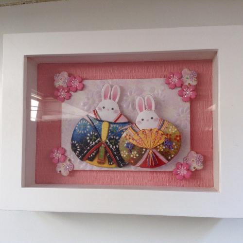 「ウサギのお雛様のシャドーボックス」
