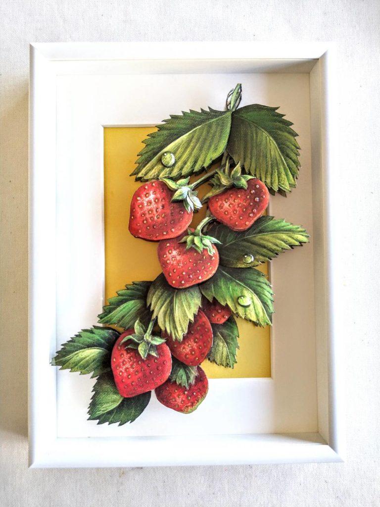「イチゴ」のシャドーボックス作品