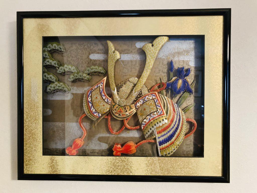 「兜と松と菖蒲」のシャドーボックス