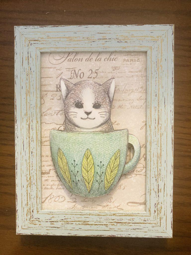 「ネコ」のシャドーボックス作品