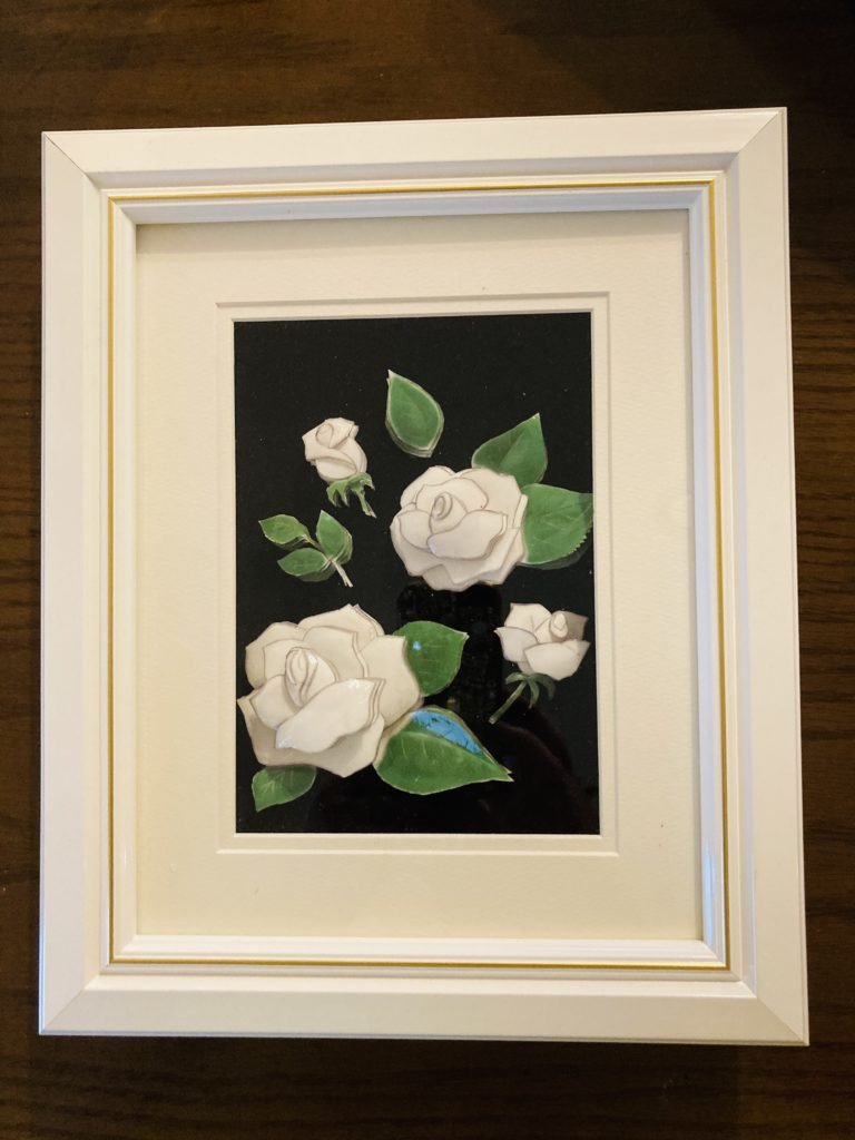 「白い薔薇」のシャドーボックス作品