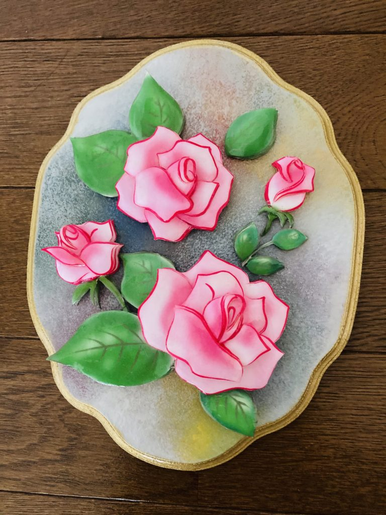 ピンクのバラのシャドーボックス作品