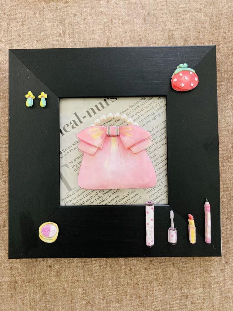 「ピンクのバック」のシャドーボックス作品
