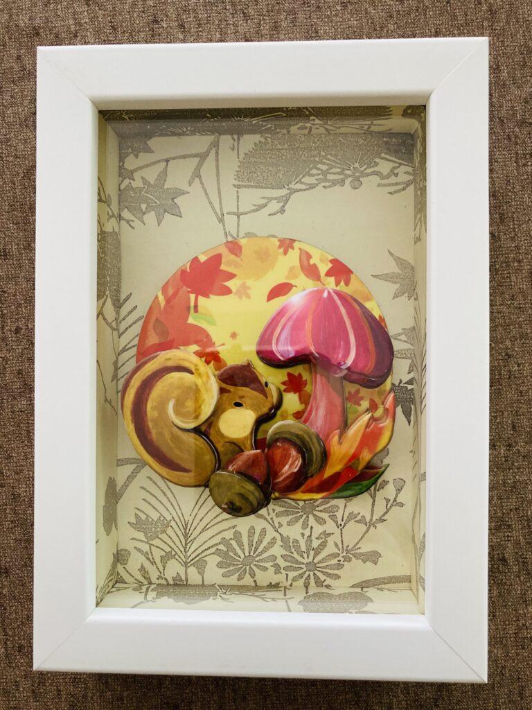 「リスと紅葉」のシャドーボックス作品