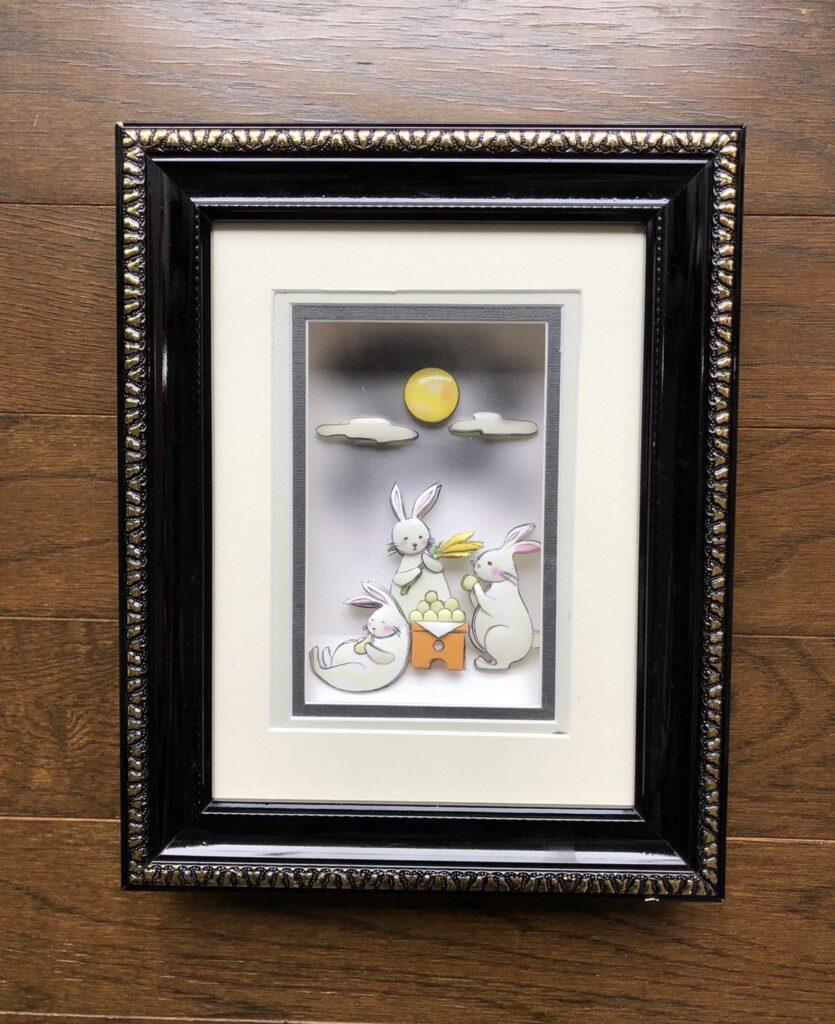 「月夜のウサギ」のシャドーボックス作品