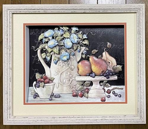 「朝顔とフルーツ」のシャドーボックス作品