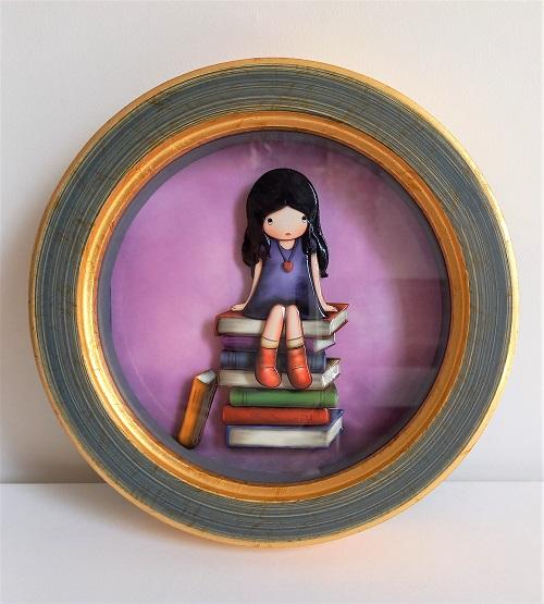 「本と少女」のシャドーボックス作品
