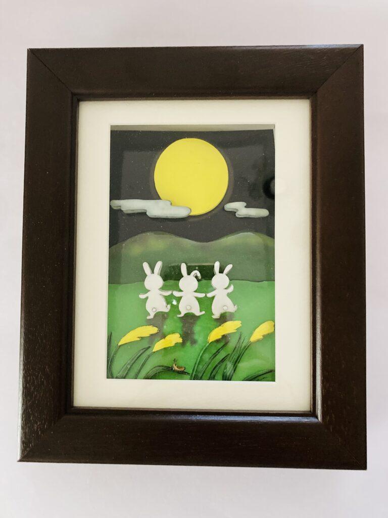 「お月見」のシャドーボックス作品