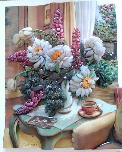 「卓上の花瓶」のシャドーボックス作品