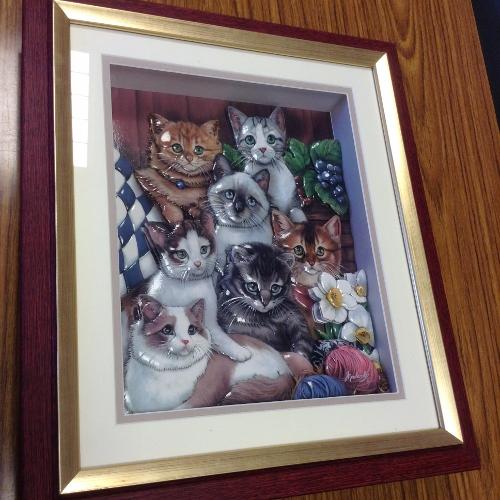 「猫」のシャドーボックス作品