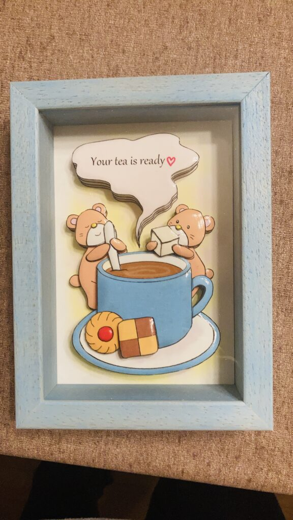 「クマちゃんのコーヒー」のシャドーボックス作品